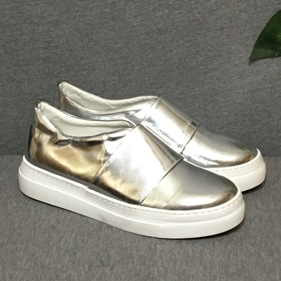 official photos cheap sale cheap for discount Lewit Silver Leather Platform Sneakers 39